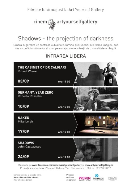 cinema Shadows afis A4 Shadows / The projection of darkness / proiect No.88 / septembrie, 2015